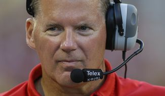 Maryland head coach Randy Edsall looks on in the second half of an NCAA college football game against Old Dominion in College Park, Md., Saturday, Sept. 7, 2013. (AP Photo/Patrick Semansky)