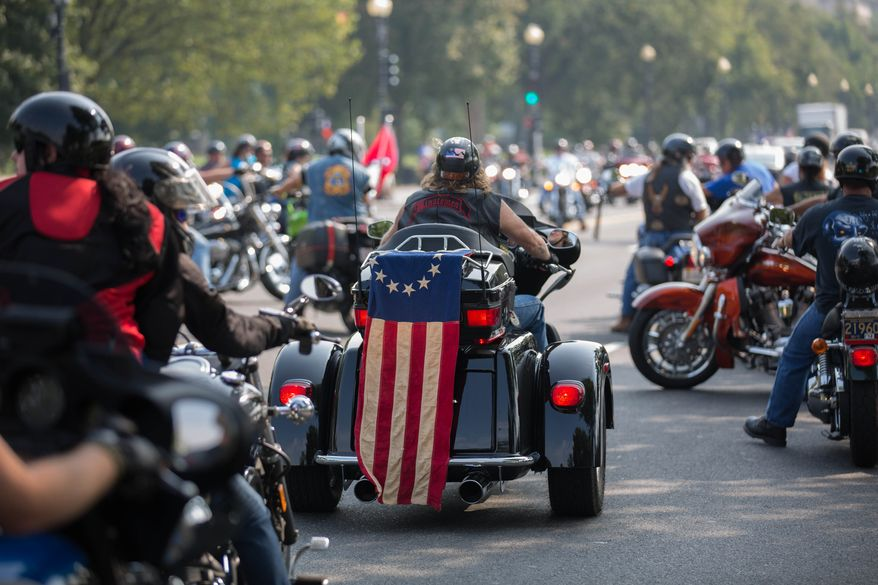 Hundreds of motorcycle riders from across the country ride into the district, causing large traffic jams, in Washington, DC.,  Wednesday, September 11, 2013.  (Andrew S Geraci/The Washington Times)