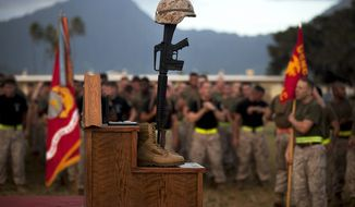 ** FILE ** Marines with 3rd Marine Regiment form up in front of the pedestal to honor fallen heroes on Marine Corps Base Hawaii, June 06, 2013. (credit: U.S. Marine Corps)