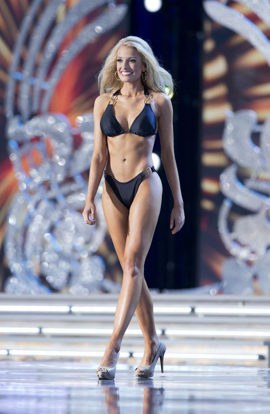 This Sept. 10, 2013 photo released by the Miss America Organization shows Miss Mississippi Chelsea Rick participating in the swimsuit competition during first night of preliminaries for the Miss America pageant in Atlantic City, N.J. Rick won the swimsuit competition. A tribute to the victims of the 9/11 attacks will open the second night of preliminary competition on Wednesday night and a new Miss America will be crowned on Sunday. (AP Photo/Miss America Organization)