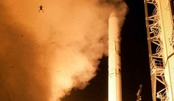 An frog is launched through the air as NASA's LADEE spacecraft lifts off from the Wallops/Mid-Atlantic Regional Spaceport in Virginia. (Image: NASA)