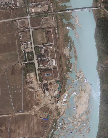 ** FILE ** A satellite image taken on April 30, 2012, shows the area around the Yongbyon nuclear facility in North Korea. (AP Photo/GeoEy