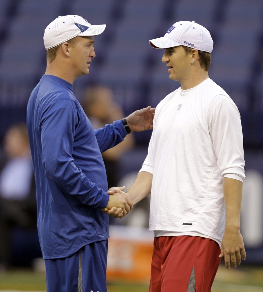 FILE - In this Sept. 19, 2010 file photo, Indianapolis Colts quarterback Peyton Manning, left, and his brother,  New York Giants quarterback Eli Manning shake hands during warm ups before the start of an NFL football game in Indianapolis. Peyton loves Eli's game, and not just because he's his little brother. (AP Photo/Michael Conroy, File)