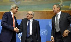 U.S. Secretary of State John Kerry, left, shakes hands with U.N. Joint Special Representative for Syria Lakhdar Brahimi, center, next to Russian Foreign Minister Sergei Lavrov, right, during a press conference after their meeting at the European headquarters of the United Nations in Geneva, Switzerland, Friday, Sept. 13, 2013.  (AP Photo/Keystone, Martial Trezzini)