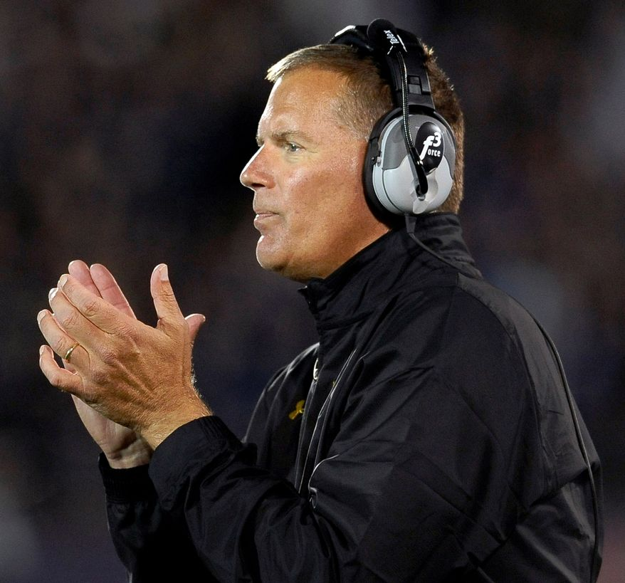 Maryland coach Randy Edsall watches his team play against Connecticut during the first half of an NCAA college football game at Rentschler Field, Saturday, Sept. 14, 2013 in East Hartford, Conn. (AP Photo/Jessica Hill)