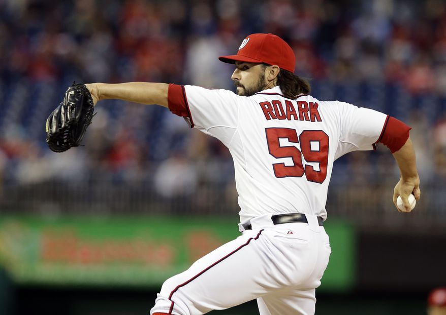 Washington Nationals right-hander Tanner Roark tossed seven scoreless innings to lead the Nationals over the Braves in the nightcap of a doubleheader sweep. (Associated Press photo)