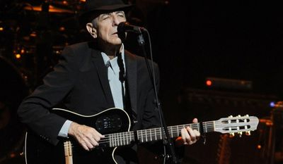 In this Feb. 19, 2009 file photo Leonard Cohen performs at the Beacon Theatre. (Associated Press)