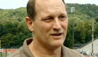 David Schaffner, father to 16-year-old David Schaffner III, talks to a reporter after his son was suspended from a Pennsylvania high school for willfully turning in a hunting knife he forgot to take out of his pocket before a football game. (CBS News Pittsburgh)