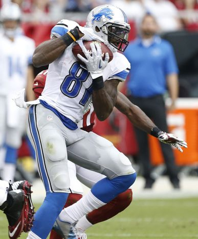 Detroit Lions wide receiver Calvin Johnson (81) makes a catch for a touchdown against the Arizona Cardinals during the first half of a NFL football game, Sunday, Sept. 15, 2013, in Glendale, Ariz. (AP Photo/Darryl Webb)