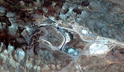 A satellite image by Digital Globe commissioned by the Institute for Science and International Security show a possible site for a uranium enrichment facility near Qom, Iran.