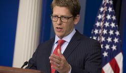 White House press secretary Jay Carney gives the daily press briefing on Tuesday, Sept. 17, 2013, in Washington. (AP Photo/Evan Vucci)