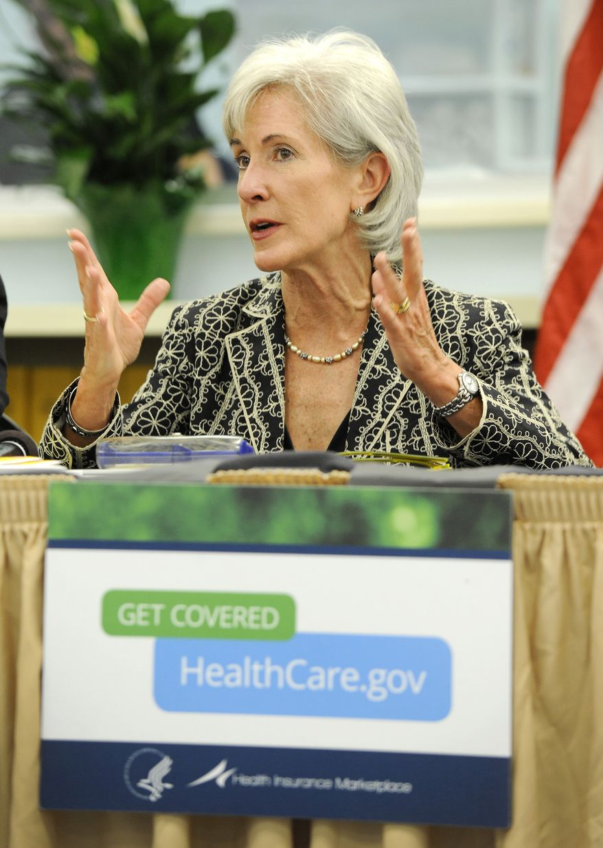 **FILE** Health and Human Services Secretary Kathleen Sebelius addresses local health care providers and community leaders in Jacksonville, Fla., on details of the soon to be implemented Affordable Care Act during a visit to the Sulzbacher Center on Sept. 16, 2013. (Associated Press/The Florida Times-Union)