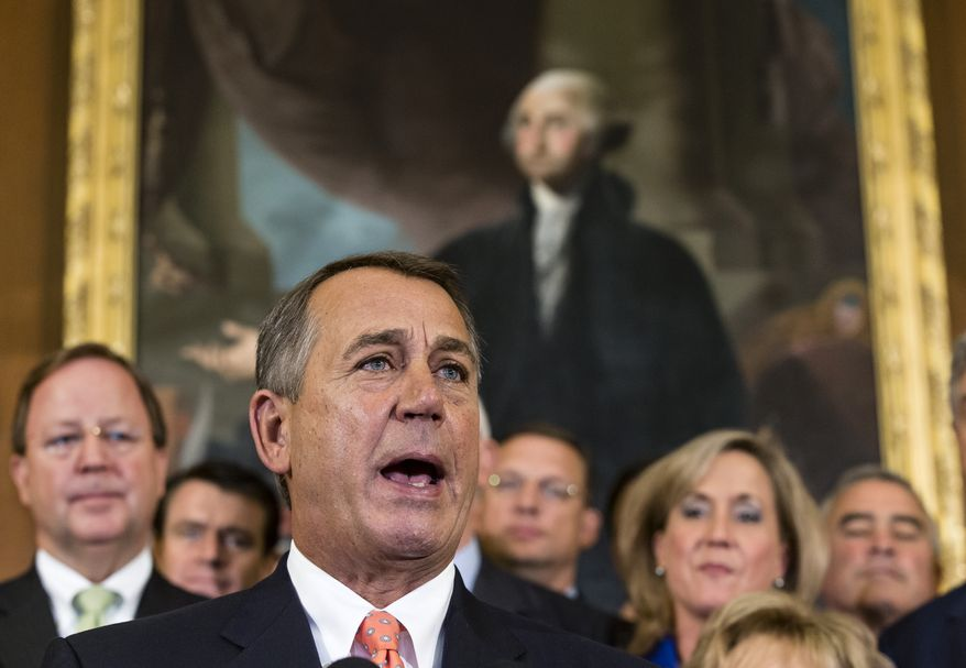 Speaker of the House John Boehner, Ohio Republican, and fellow House GOP members rally at the Capitol in Washington on Sept. 20, 2013, after passing a bill that would fund the government for three months while crippling the health care law that was the signature accomplishment of President Obama's first term. (Associated Press)