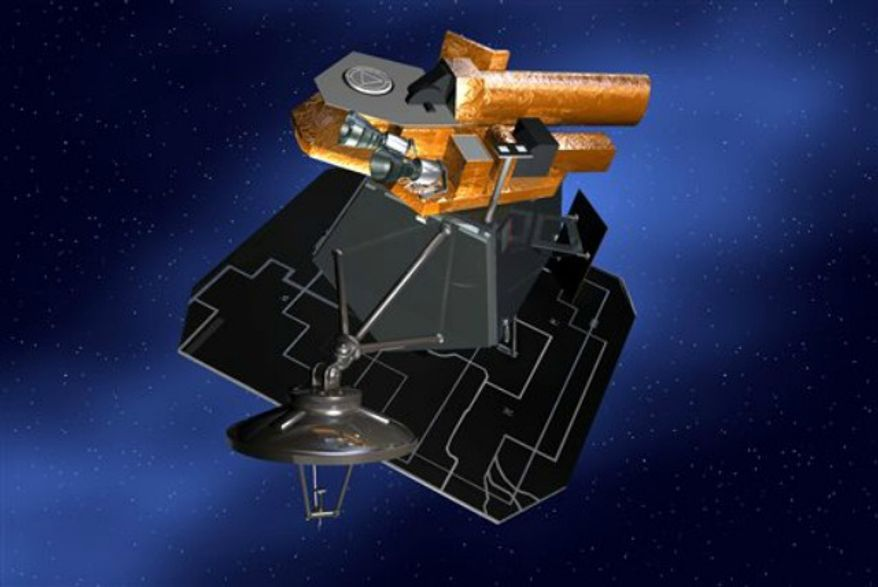 This undated artist rendering released by NASA shows the Deep Impact spacecraft. In 2005, it smashed a comet with a projectile to give scientists a peek of the interior. The spacecraft went on to rendezvous with two more comets. On Friday, Sept. 20, 2013, the space agency declared an end to the mission after failing to regain contact with the spacecraft. (AP Photo/NASA)