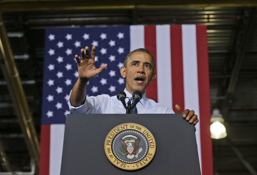 ** FILE ** President Obama speaks on Friday, Sept. 20, 2013, at the Ford Kansas City Stamping Plant in Liberty, Mo., where he continued to highlight the progress in the economy since the 2008 financial crisis. (Associated Press)