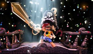 Our hero Kutaro with magical scissors and pirate head in the video game Puppeteer.