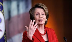 House Minority Leader Nancy Pelosi, California Democrat, unleashed a torrent of criticism against Republicans for their stance on Obamacare and the budget. (ASSOCIATED PRESS)