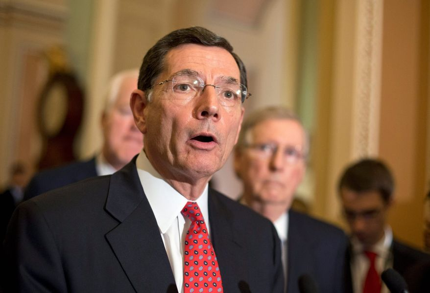 ** FILE ** Sen. John Barrasso, R-Wyo., and the Senate GOP leadership answer questions following a Republican strategy session on Capitol Hill in Washington, Tuesday, May 7, 2013. Senate Minority Leader Mitch McConnell, R-Ky., is at right. (AP Photo/J. Scott Applewhite)