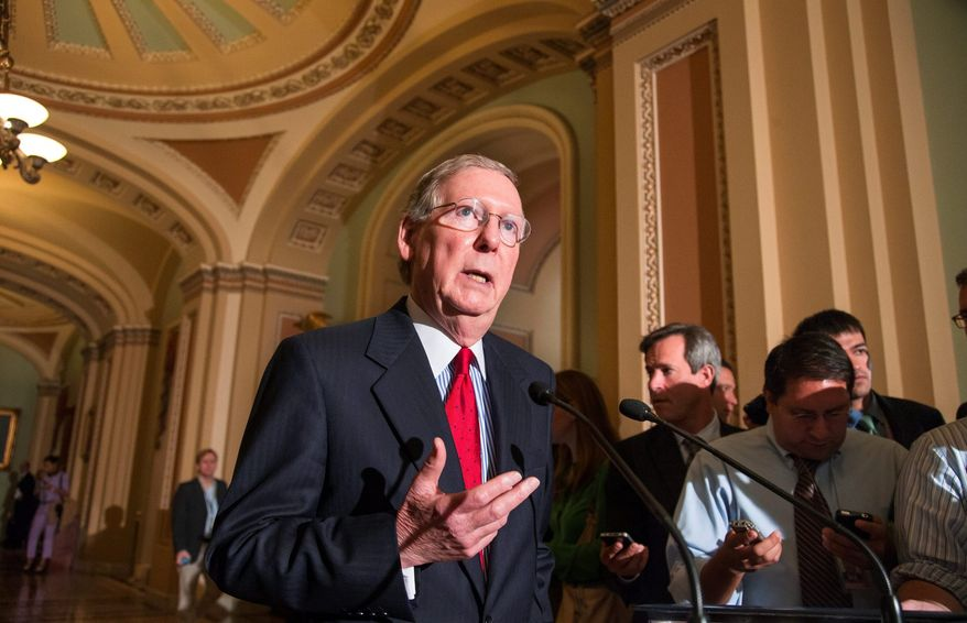 """""""Destroying chemical weapons is extremely challenging,"""" said Senate Minority Leader Mitch McConnell, Kentucky Republican. A chemical weapons oxidation facility is being constructed in his state. (Associated Press)"""