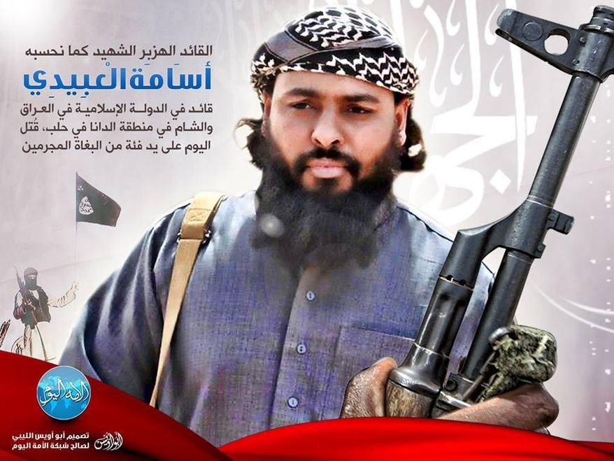 ** FILE ** This photo illustration posted on a militant website announcing the death of Osama al-Obeidi, who goes by the nom de guerre Abu Abdullah al-Libi. The Islamic State of Iraq and the Levant said its commander in Idlib province, al-Libi, was ambushed by members of the Free Syrian Army near a border crossing with Turkey on Sept. 23, 2013. (Associated Press via militant website)