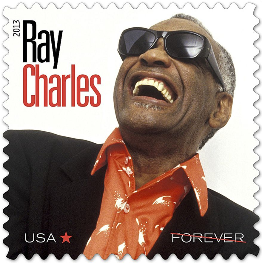 Shown is a new Postal Service stamp, part of the Music Icons series, honoring musician Ray Charles. (AP Photo/The U.S. Postal Service)