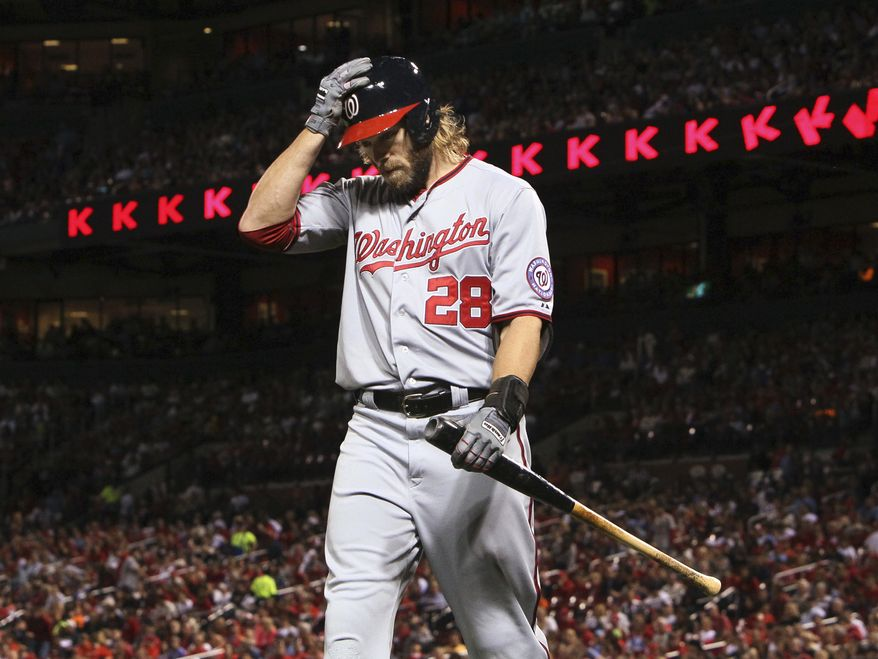 Washington Nationals' Jayson Werth returns to the dugout after striking out against the St. Louis Cardinals during the fourth inning of a baseball game Monday, Sept. 23, 2013, in St. Louis. The Cardinals won 4-3. (AP Photo/St. Louis Post-Dispatch, Chris Lee) EDWARDSVILLE OUT   ALTON OUT