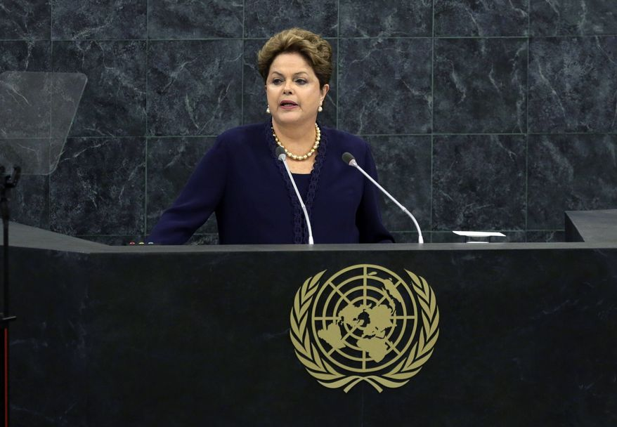 Brazilian President Dilma Roussef addresses the 68th session of the U.N. General Assembly on Tuesday, Sept. 24, 2013, in New York. (AP Photo/Richard Drew)