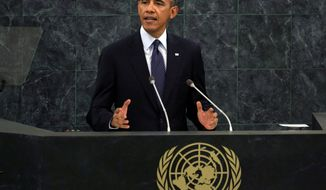 U.S. President Barack Obama addresses the 68th session of the United Nations General Assembly, Tuesday, Sept. 24, 2013. (AP Photo/Richard Drew)