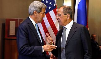 """Talks on Tuesday during the U.N. General Assembly between Secretary of State John F. Kerry and Russian Foreign Minister Sergei Lavrov about Syria's chemical weapons were described as """"constructive,"""" diplomatic-speak for cautious optimism. (Associated Press)"""