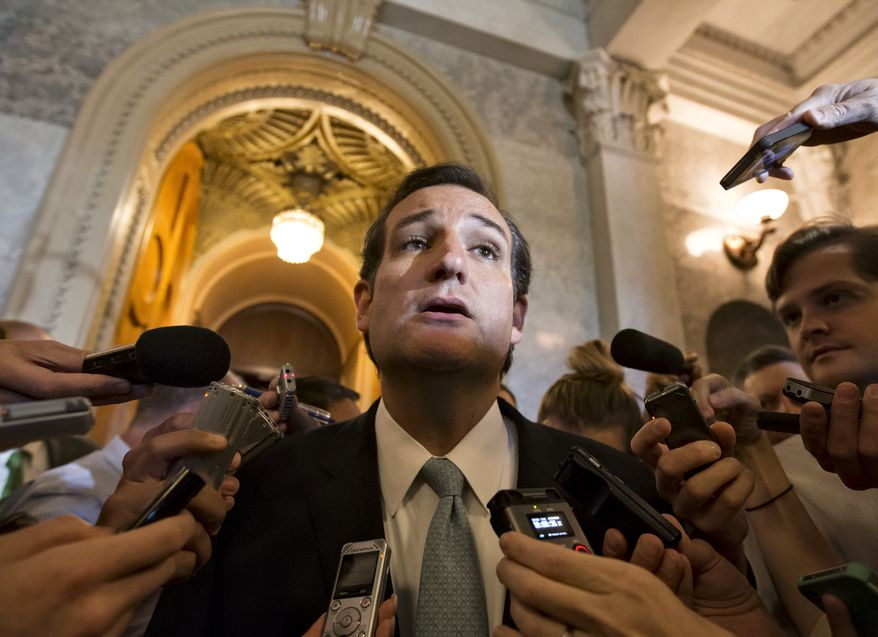 "Sen. Ted Cruz, Texas Republican, talks to reporters as he emerges from the Senate Chamber on Capitol Hill in Washington on Sept 25, 2013, after his overnight crusade railing against the Affordable Care Act, popularly known as ""Obamacare."" Cruz ended the marathon Senate speech opposing President Obama's health care law after talking for 21 hours, 19 minutes. (Associated Press)"