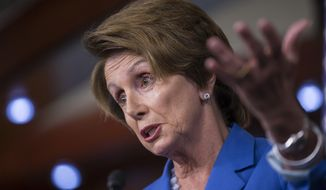 **FILE** House Minority Leader Nancy Pelosi, California Democrat, speaks Sept. 19, 2013, with reporters on Capitol Hill in Washington. (Associated Press)