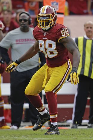 Washington Redskins outside linebacker Brian Orakpo in action during the second half of a NFL football game against the Detroit Lions in Landover, Md., Sunday, Sept. 22, 2013. (AP Photo/Alex Brandon)