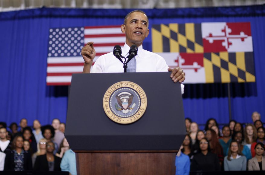 President Obama speaks about the Affordable Care Act on Sept. 26, 2013, at Prince George's Community College in Largo, Md. (Associated Press)