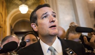 Sen. Ted Cruz, Texas Republican, emerges from the Senate chamber after his overnight crusade railing against the Affordable Care Act, popularly known as Obamacare, at the Capitol in Washington on Wednesday, Sept. 25, 2013. (AP Photo/J. Scott Applewhite)