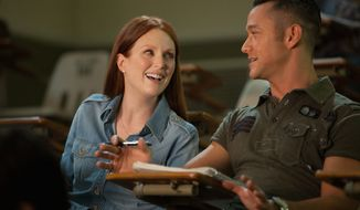 "Julianne Moore plays a night school student who challenges the roguish ways of Joseph Gordon-Levitt's character in ""Don Jon."" Mr. Gordon-Levitt also wrote and directed the film. (Relativity Media via Associated Press)"
