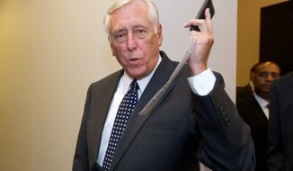 ** FILE ** House Minority Whip Steny Hoyer of Md. arrives for a Democratic Caucus meeting at the U.S. Capitol in Washington, Saturday, Sept. 28, 2013. (AP Photo/Molly Riley)