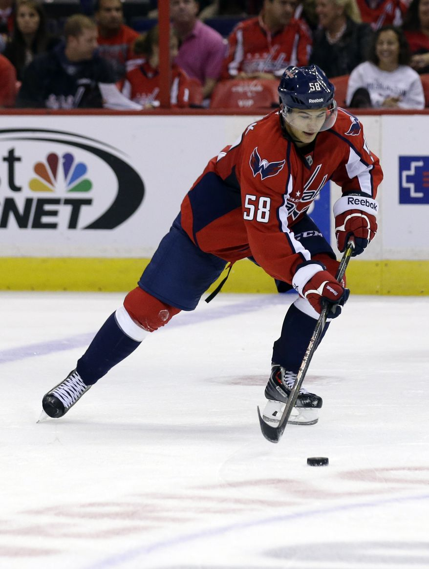 Washington Capitals defenseman Connor Carrick (58) skates with the puck in the third period of a preseason NHL hockey game, against the Philadelphia Flyers Friday, Sept. 27, 2013, in Washington. The Capitals won 6-3. (AP Photo/Alex Brandon)