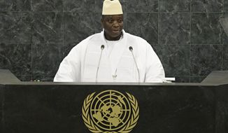 Gambian President Yahya Jammeh addresses the 68th U.N. General Assembly on Friday, Sept. 27, 2013, at the international body's headquarters in New York. (AP Photo/Andrew Burton, Pool)