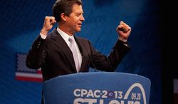 """Kansas Gov. Sam Brownback told members of the Conservative Political Action Conference in St. Louis on Saturday, """"We just need to be America again."""" (American Conservative Union)"""