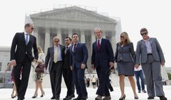 Attorneys Ted Olson (second from left) and David Boies (third from right) challenged California's same-sex marriage ban in the Supreme Court and won. With them in June are plaintiffs Jeffrey Zarrillo and Paul Katami and Sandy Stier and Kris Perry. (associated press)