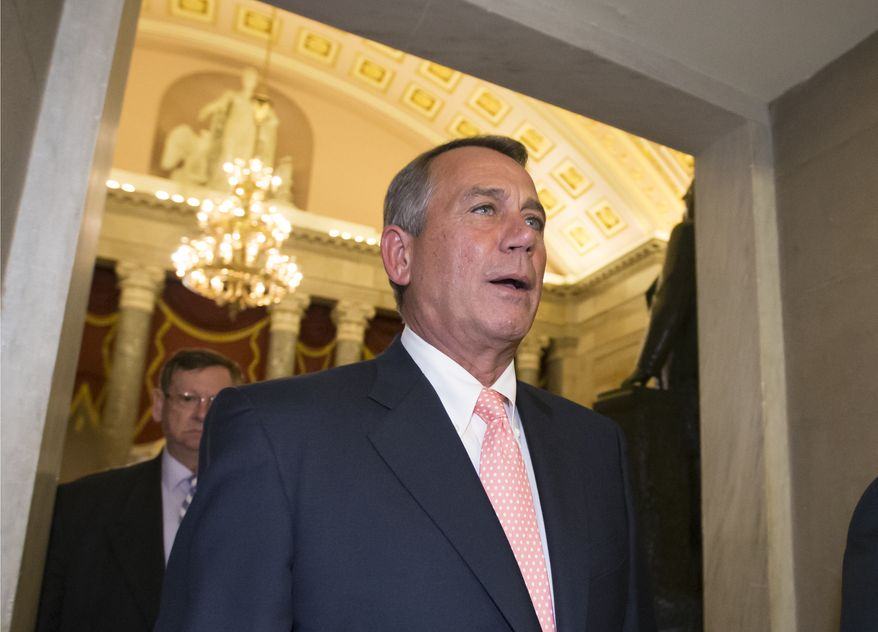"Speaker of the House John Boehner, R-Ohio, returns to his office after an 8:45 p.m. vote on the continuing resolution, at the Capitol in Washington, Monday, Sept. 30, 2013. The Republican-controlled House and the Democrat-controlled Senate are at an impasse as Congress continues to struggle over how to prevent a possible shutdown of the federal government when it runs out of money. President Barack Obama ramped up pressure on Republicans Monday to avoid a post-midnight government shutdown, saying that failure to pass a short-term spending measure to keep agencies operating would ""throw a wrench into the gears"" of a recovering economy. (AP Photo/J. Scott Applewhite)"