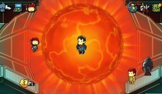 Maxwell meets Superboy Prime in the video game Scribblenauts Unmasked - A DC Comics Adventure.