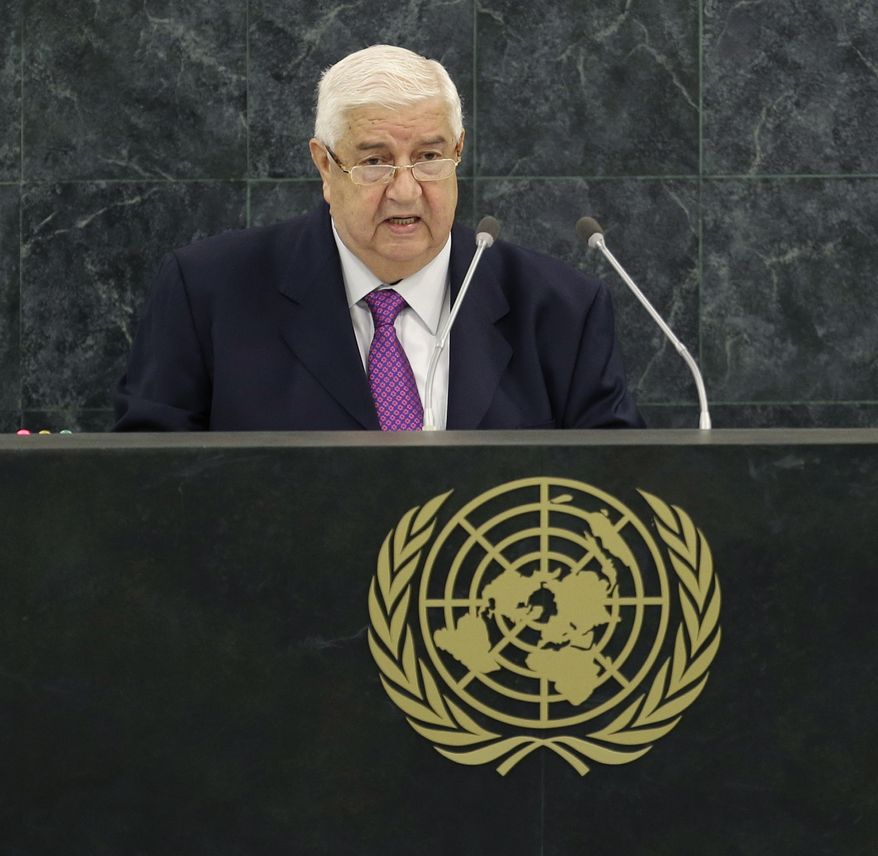 Syrian Foreign Minister Walid al-Moualem speaks during the 68th session of the General Assembly at United Nations headquarters in New York on Monday, Sept. 30, 2013. (AP Photo/Seth Wenig)