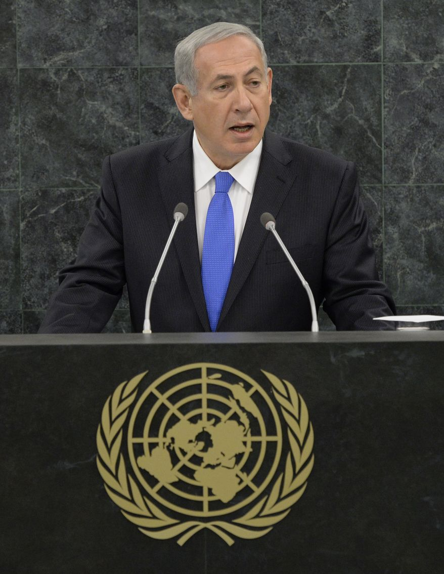 Israeli Prime Minister Benjamin Netanyahu addresses the 68th Session of the United Nations General Assembly on Tuesday Oct. 1, 2013 at the United Nations headquarters. (AP Photo/Andrew Gombert,Pool)