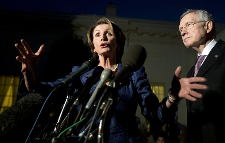 ** FILE ** House Minority Leader Nancy Pelosi (left), California Democrat, with Senate Majority Leader Harry Reid, Nevada Democrat, speaks to reporters following a meeting with President Obama and the Republican leadership at the White House in Washington on Wednesday, Oct. 2, 2013. (AP Photo/Manuel Balce Ceneta)