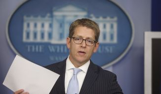 White House press secretary Jay Carney speaks at the daily press briefing at the White House in Washington on Wednesday, Oct. 2, 2013. (AP Photo/Charles Dharapak)