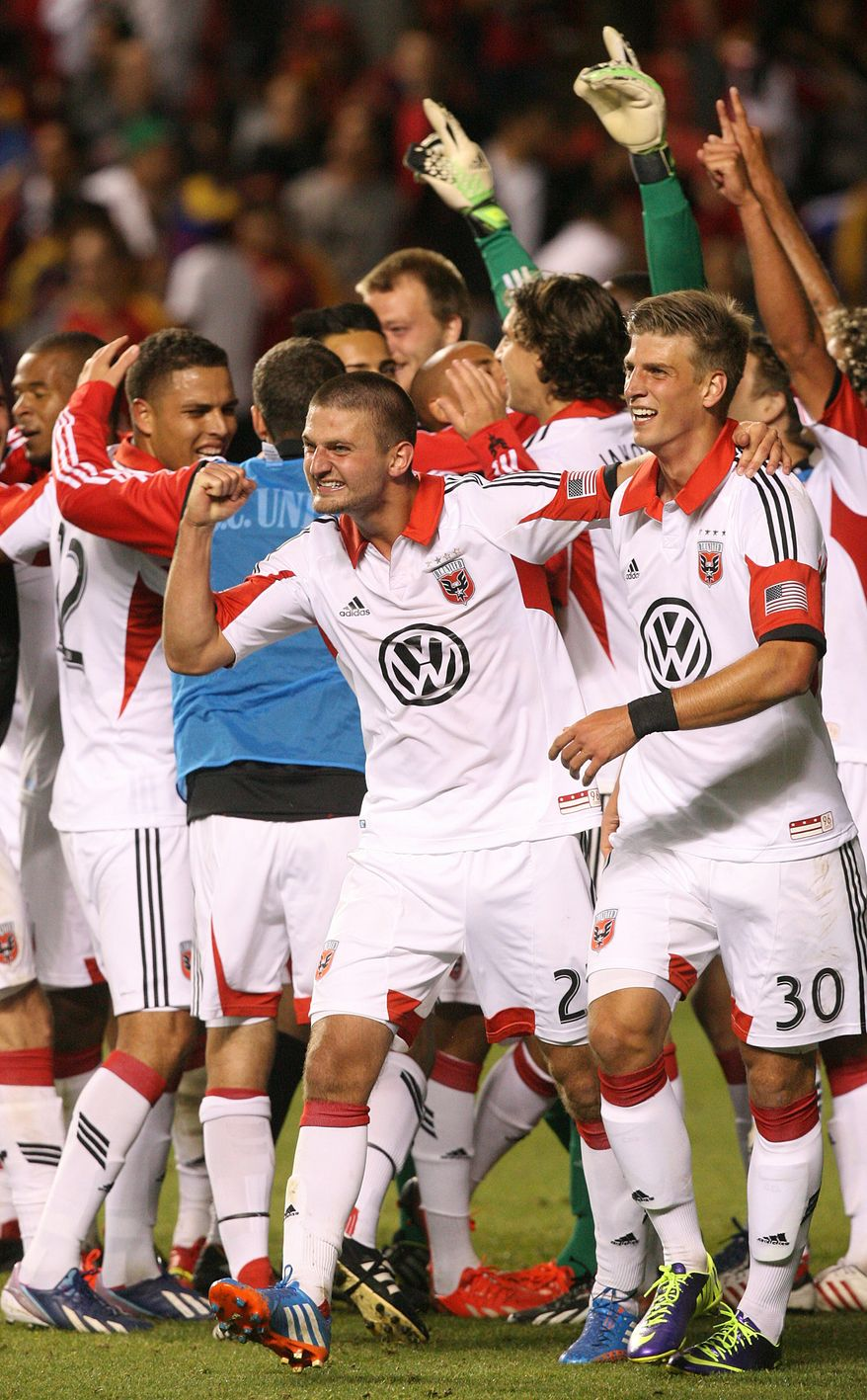 D.C. United celebrates the win as Real Salt Lake lost the 2013 U.S. Open Cup Final to D.C. United 1-0 at Rio Tinto Stadium in Sandy, Utah, Tuesday, October 1, 2013. The winner will play in the CONCACAF Champions League. (AP Photo/The Salt Lake Tribune, Leah Hogsten)
