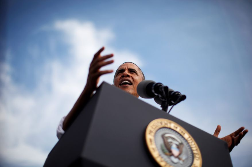 President Obama speaks about the government shutdown and the pending debt ceiling fight during a visit to M. Luis Construction, a Rockville, Md. based-company that specializes in asphalt manufacturing, concrete paving, and roadway reconstruction.