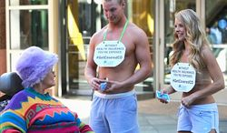 Attractive underwear models were hired to help sell Obamacare in Denver this week by Colorado HealthOP, a nonprofit insurance group. (Colorado HealthOp)