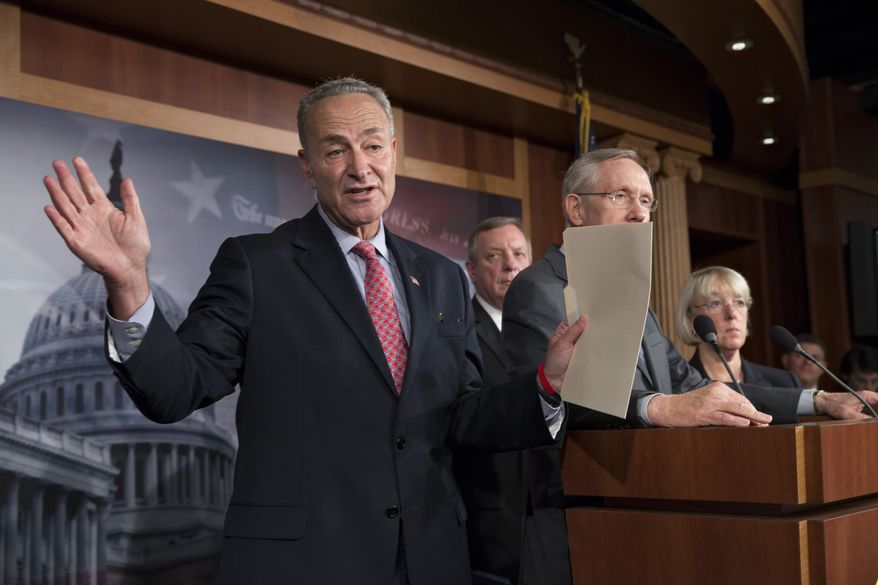 From left, Sen. Chuck Schumer, D-N.Y., Senate Majority Whip Dick Durbin, D-Ill., Senate Majority Leader Harry Reid, D-Nev., and Sen. Patty Murray, D-Wash., chair of the Senate Budget Committee, tell reporters that Speaker of the House John Boehner, R-Ohio, and House Republicans are the obstacle to ending the government shutdown crisis, at the Capitol in Washington, Thursday, Oct. 3, 2013. President Barack Obama brought congressional leaders to the White House on Wednesday for the first time since a partial government shutdown began, but there was no sign of progress toward ending an impasse that has idled 800,000 federal workers and curbed services around the country. (AP Photo/J. Scott Applewhite)